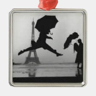 Ornement Carré Argenté Eiffel Tower Love Paris