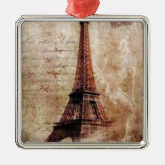 Ornement Carré Argenté Eiffel Tower vintage Paris