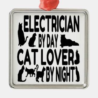 Ornement Carré Argenté Électricien par l'amoureux des chats de jour par