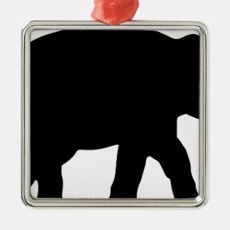 Ornement Carré Argenté Éléphant