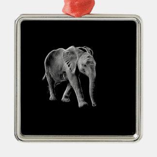 Ornement Carré Argenté Éléphant au néon de bébé