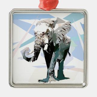 Ornement Carré Argenté éléphant d'afrique