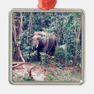 Ornement Carré Argenté Éléphant en Thaïlande