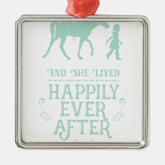 Ornement Carré Argenté Elle a vécu heureusement pour toujours cheval