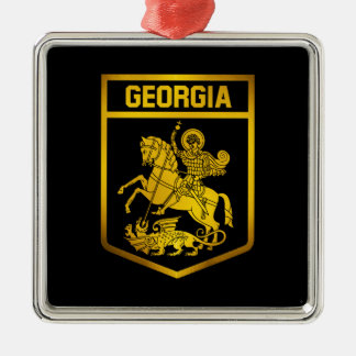 Ornement Carré Argenté Emblème de la Géorgie