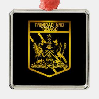 Ornement Carré Argenté Emblème du Trinidad-et-Tobago
