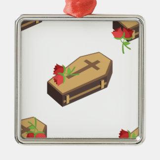 Ornement Carré Argenté emojis de cercueil