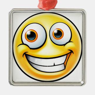 Ornement Carré Argenté Émoticône heureuse d'Emoji