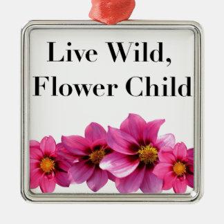 Ornement Carré Argenté Enfant de fleur sauvage vivant