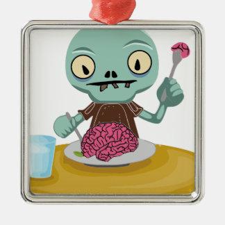 Ornement Carré Argenté enfant de zombi mangeant le cerveau