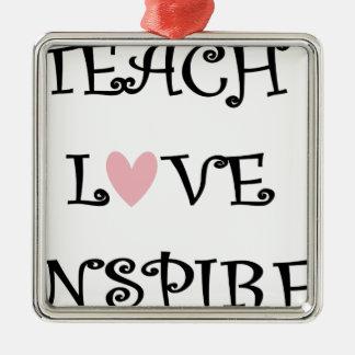 Ornement Carré Argenté enseignez l'amour inspirent