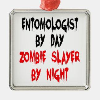 Ornement Carré Argenté Entomologiste de tueur de zombi