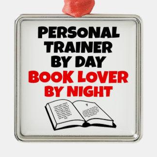 Ornement Carré Argenté Entraîneur personnel d'amoureux des livres