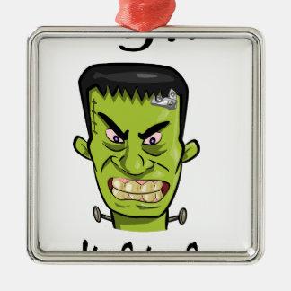 Ornement Carré Argenté Épice de citrouille de Frankenstein