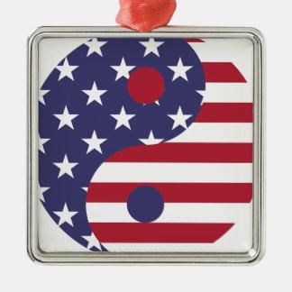 Ornement Carré Argenté Équilibre d'Asiatique d'art abstrait de drapeau de