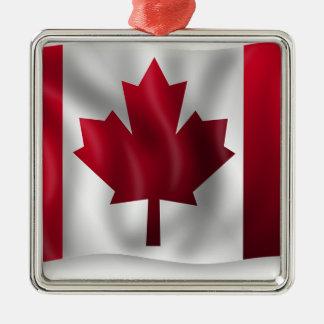 Ornement Carré Argenté Érable canadien de feuille d'emblème de pays de