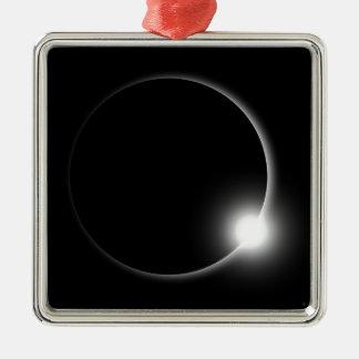 Ornement Carré Argenté Éruption chromosphérique de fusée de Sun d'éclipse