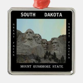 Ornement Carré Argenté État du Dakota du Sud le mont Rushmore
