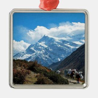 Ornement Carré Argenté Été de voyage de l'Himalaya le mont Everest Inde