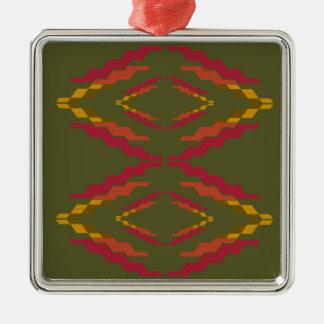 Ornement Carré Argenté Ethno de vert d'olives de conception