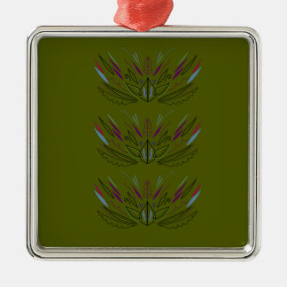 Ornement Carré Argenté Ethno vintage de conception d'olives