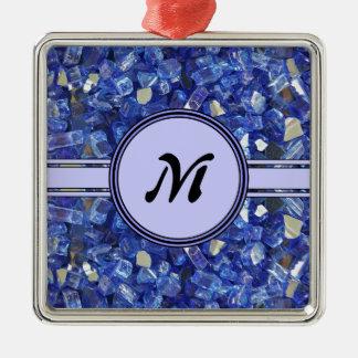 Ornement Carré Argenté Étincelle en verre bleue de monogramme de cristaux