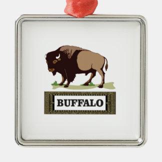 Ornement Carré Argenté étiquette brune de buffle