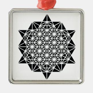 Ornement Carré Argenté Étoile de mandala de temps d'espace de création