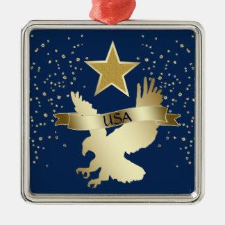 Ornement Carré Argenté Étoile Eagle d'or des Etats-Unis