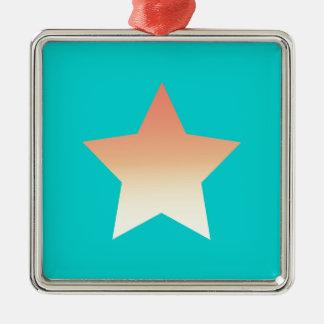 Ornement Carré Argenté Étoile orange lumineuse sur le bleu