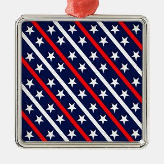 Ornement Carré Argenté étoiles bleues blanches rouges patriotiques