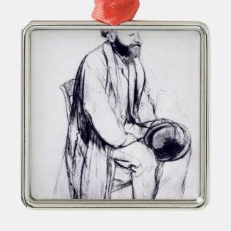 Ornement Carré Argenté Étude d'Edgar Degas | pour un portrait de Manet
