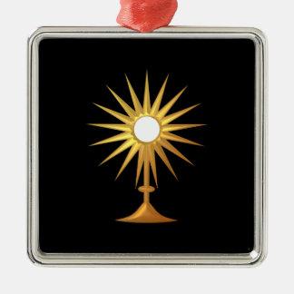 Ornement Carré Argenté Eucharistie sainte dans le Monstrance d'or
