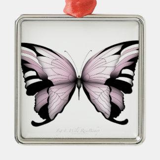 Ornement Carré Argenté Évêque rose sauvage de papillon rose