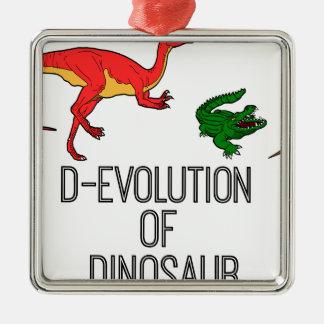 Ornement Carré Argenté Évolution de D de dinosaure