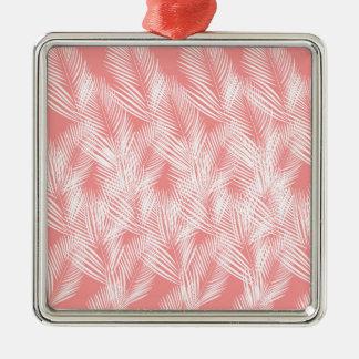 Ornement Carré Argenté Exotico de blanc de rose de paumes de conception