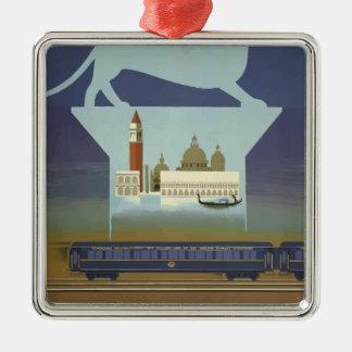 Ornement Carré Argenté Express vintage de Venise l'orient de voyage
