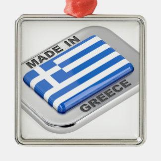 Ornement Carré Argenté Fait dans l'insigne de la Grèce