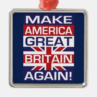Ornement Carré Argenté Faites l'Amérique Grande-Bretagne encore !