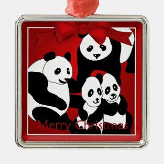 Ornement Carré Argenté Famille de panda d'ornement de prime de Noël