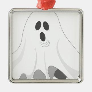 Ornement Carré Argenté Fantôme de Halloween - HUEZ !