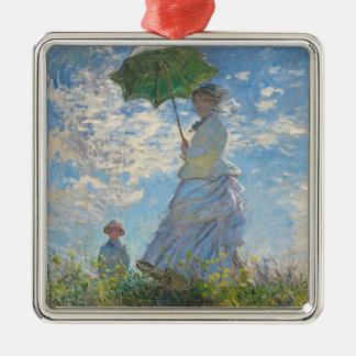 Ornement Carré Argenté Femme de Claude Monet | avec un parasol