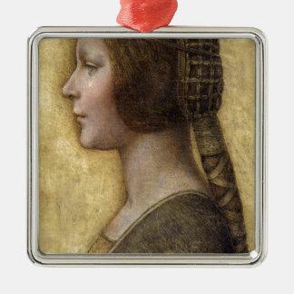 Ornement Carré Argenté Femme de la Renaissance