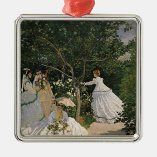 Ornement Carré Argenté Femmes de Claude Monet | dans le jardin, 1866
