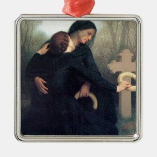 Ornement Carré Argenté Femmes gothiques Bouguereau de croix noire de robe