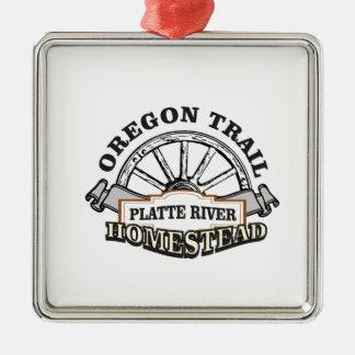 Ornement Carré Argenté ferme la rivière Platte