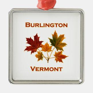Ornement Carré Argenté Feuillage d'automne de Burlington Vermont -