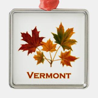 Ornement Carré Argenté Feuillage d'automne du Vermont - feuille d'érable