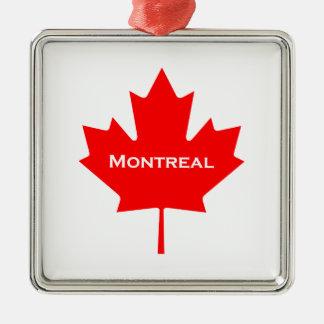 Ornement Carré Argenté Feuille d'érable de Montréal