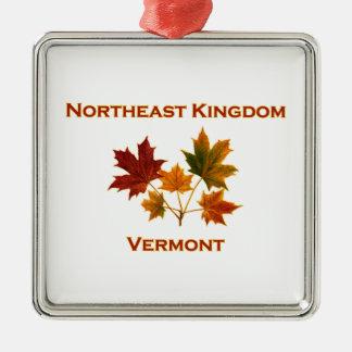 Ornement Carré Argenté Feuille du nord-est d'érable du Vermont de royaume